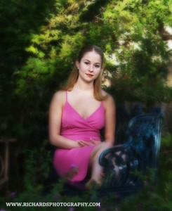 senior wearing pink dress